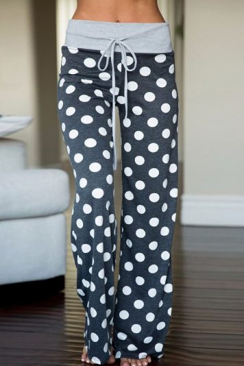 Gray Drawstring Polka Dot Printed Wide Leg Casual Pants