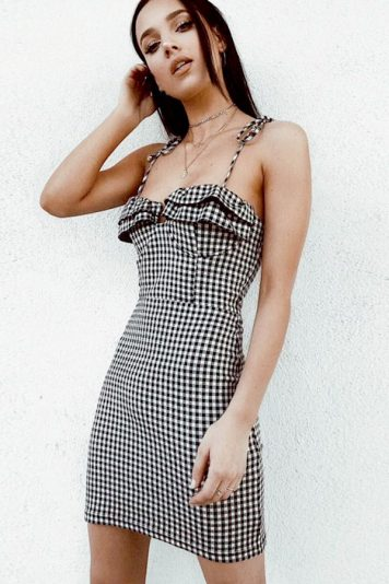 Black Plaid Tied Spaghetti Straps Sexy Bodycon Dress